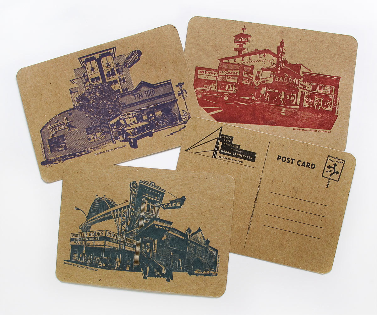 Letterpress postcards or Portland, OR neighborhoods by Beth Kerschen