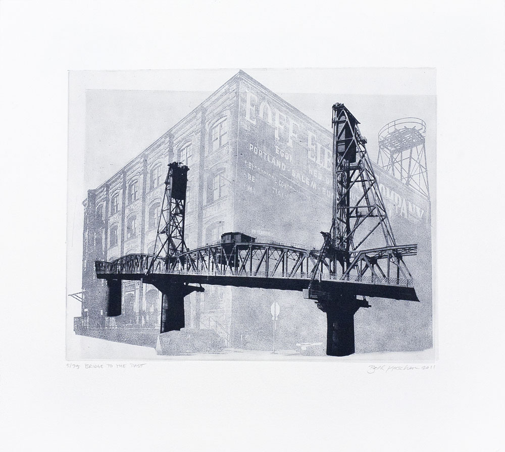 """Bridge to the Past"" etching print"