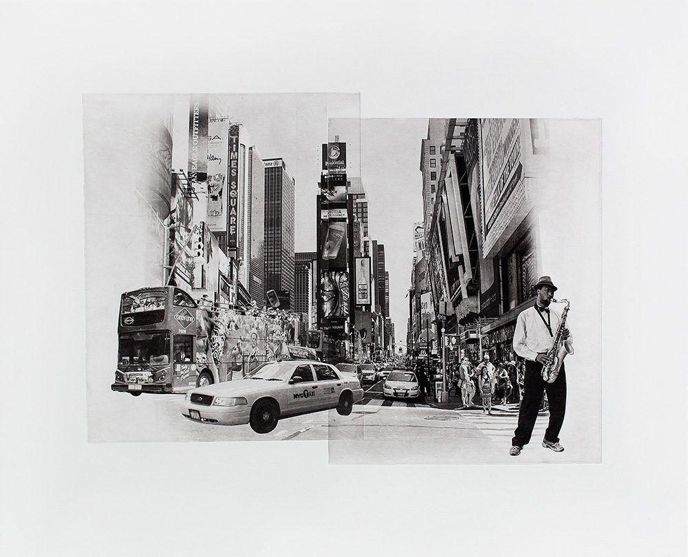 Walking through Times Square, Photographic Etching, Polymer Photogravure