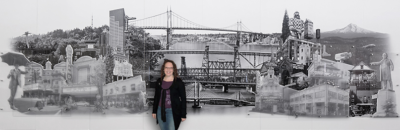 Portland Airport cityscape Art Installation by Beth Kerschen